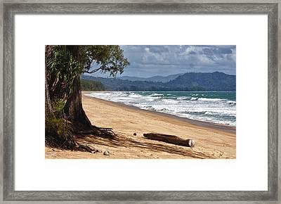 Deserted Beach In Phuket In Thailand Framed Print by Zoe Ferrie