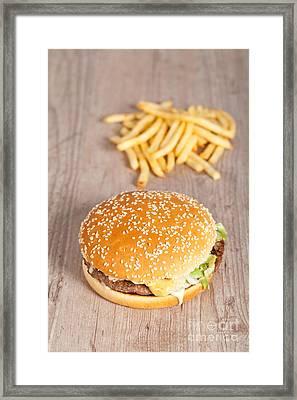 Fat Hamburger Sandwich Framed Print by Sabino Parente