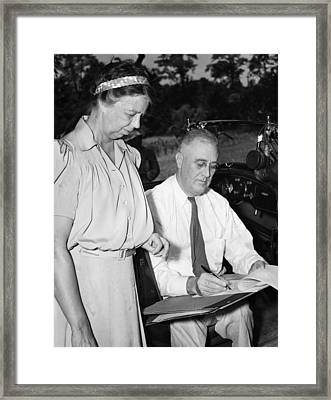 Fdr Presidency. First Lady Eleanor Framed Print by Everett