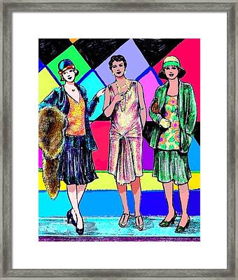 3 Flappers Color Framed Print by Mel Thompson