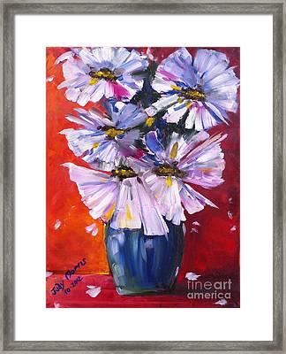 Flowers In Blue Vase  Framed Print by Judy Morris