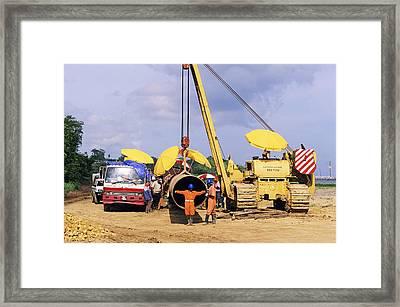 Gas Line Construction Framed Print by David Nunuk