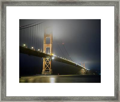 Framed Print featuring the photograph Golden Gate Bridge At Night by Mike Irwin