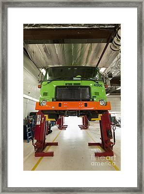 Green Garbage Truck Maintenance Framed Print