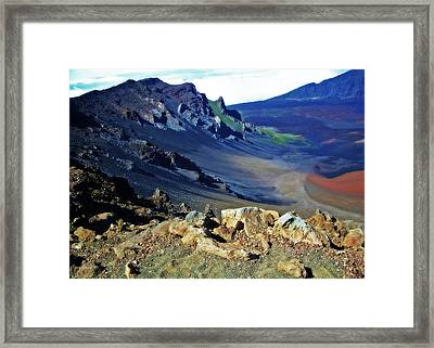 Haleakala Crater In Maui Hawaii Framed Print by Sheila Kay McIntyre
