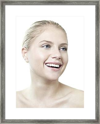 Happy Young Woman Framed Print