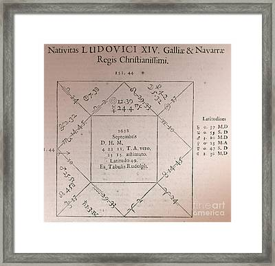 Horoscope Chart For Louis Xiv, 1661 Framed Print by Science Source