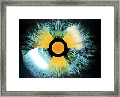 Iris With Radiation Warning Sign Framed Print