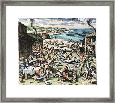 Jamestown: Massacre, 1622 Framed Print by Granger