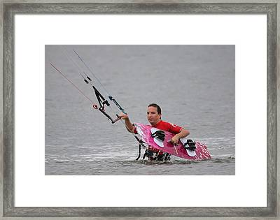 Kite Boarding Framed Print by Jeanne Andrews