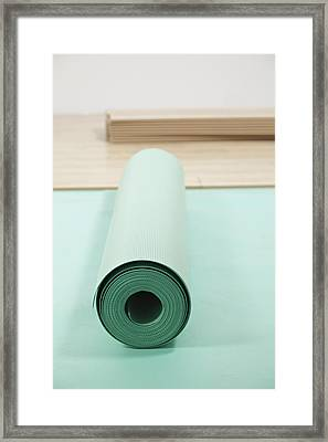 Laying A Floor. Rolls Of Underlay Or Framed Print