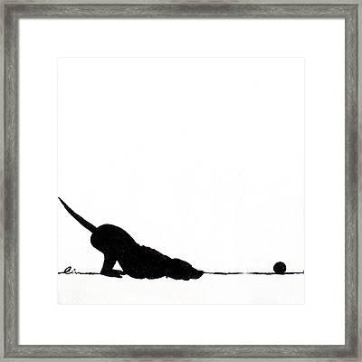 Little Dogs Doing Tricks On Little Canvas Framed Print by Cindy D Chinn