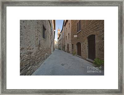 Medieval Street And Clock Tower Framed Print by Rob Tilley