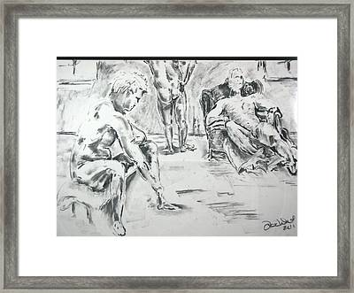 Framed Print featuring the drawing 3 Men Relaxing by Brian Sereda