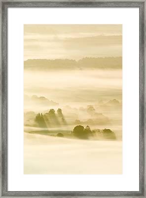Morning Mist Over Farmland Framed Print