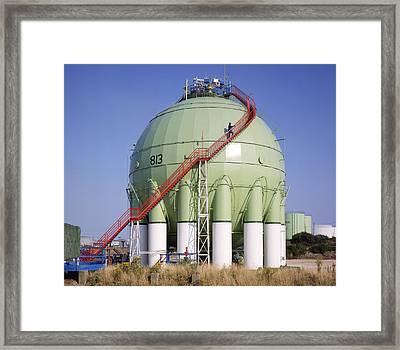 Oil Refinery Storage Tank Framed Print by Paul Rapson