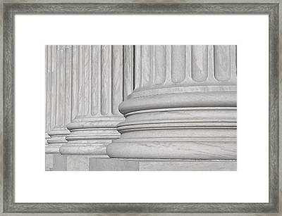 Pillars Of Law And Justice Us Supreme Court Framed Print by Brandon Bourdages