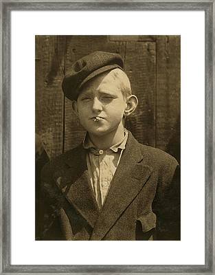 Portrait Of A Boy Smoking, Original Framed Print by Everett