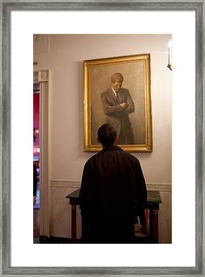President Barack Obama Looks Framed Print by Everett