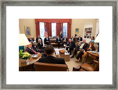 President Barack Obama Meets Framed Print