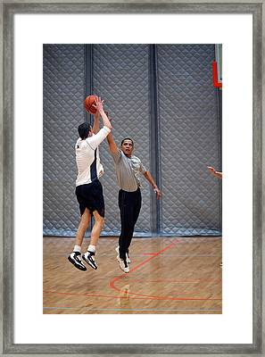 President Barack Obama Plays Basketball Framed Print