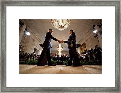 President Obama And Chinese President Framed Print