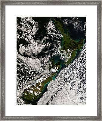 Satellite View Of New Zealand Framed Print by Stocktrek Images