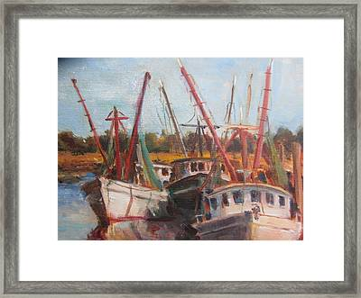 3 Shrimpers At Dock Framed Print by Albert Fendig