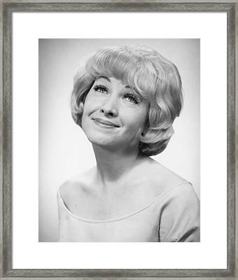Smiling Woman Posing In Studio, (b&w), Portrait Framed Print by George Marks