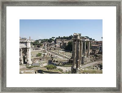 Temple Of Saturn In The Forum Romanum. Rome Framed Print by Bernard Jaubert