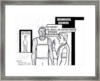 Usain Bolt V Security Guard Framed Print by Mudiama Kammoh