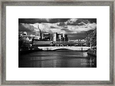 View Of The River Liffey In Dublin City Centre Republic Of Ireland Framed Print by Joe Fox