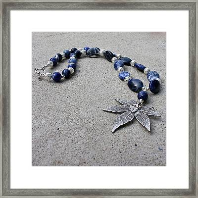 3593 Sodalite And Silver Necklace With Japanese Maple Leaf Pendant  Framed Print by Teresa Mucha