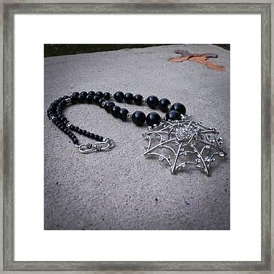 3596 Spiderweb Rhinestone Pendant Necklace Framed Print by Teresa Mucha