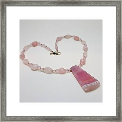 3604 Rose Quartz And Agate Pendant Necklace Framed Print by Teresa Mucha