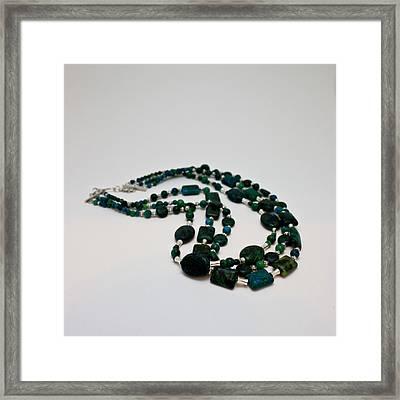3609 Australian Jasper Triple Strand Necklace Framed Print by Teresa Mucha