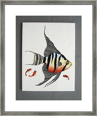 361 Tile With Fishes Framed Print by Wilma Manhardt