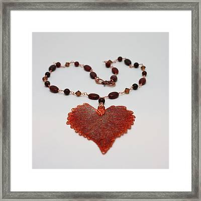 3610 Iridescent Copper Plated Cottonwood Leaf Pendant Necklace Framed Print