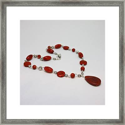 3611 Red Coral And Indonesian Coral Pendant Necklace  Framed Print