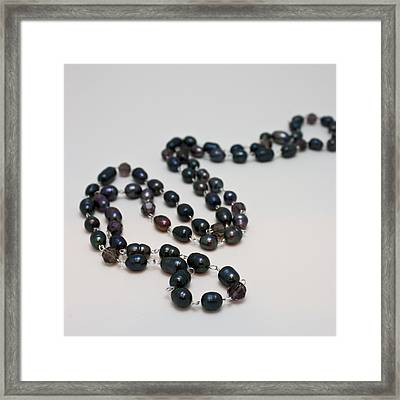 3613 Peacock Freshwater Pearl Rope Length Necklace  Framed Print