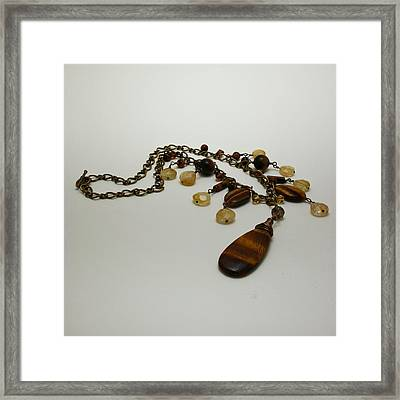 3618 Tigereye And Citrine Necklace Framed Print by Teresa Mucha
