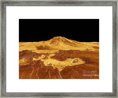 3d Perspective View Of Maat Mons Framed Print by Stocktrek Images