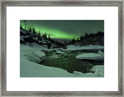 Aurora Borealis Over Tennevik River Framed Print by Arild Heitmann