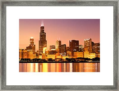 Chicago Skyline At Night Framed Print by Paul Velgos