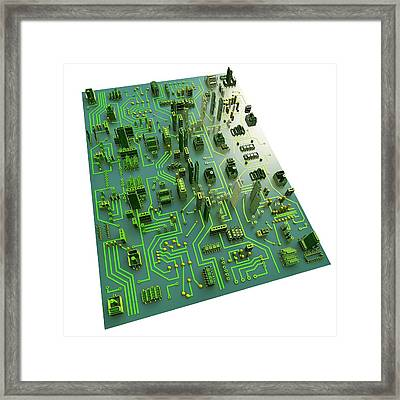 Circuit City, Computer Artwork Framed Print by Pasieka