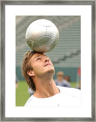 David Beckham At The Press Conference Framed Print by Everett