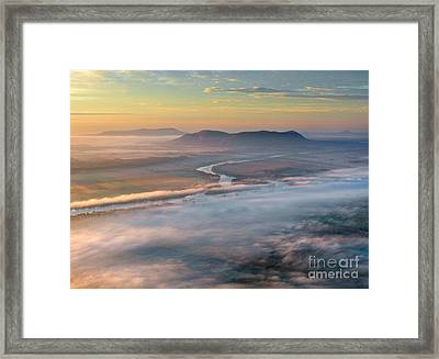 Early Autumn Morning Fog On The Richelieu River Valley Quebec Ca Framed Print