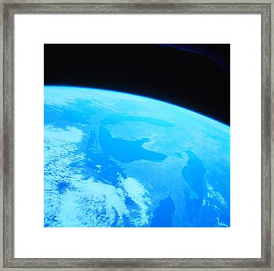 Earth Viewed From A Satellite Framed Print