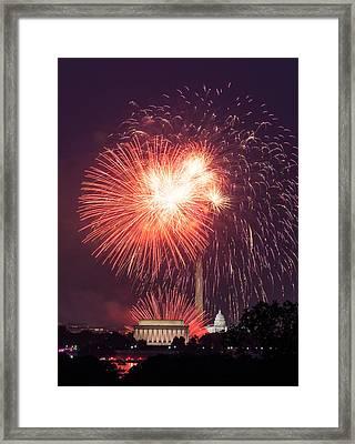 Fireworks Over Washington Dc On July 4th Framed Print by Steven Heap
