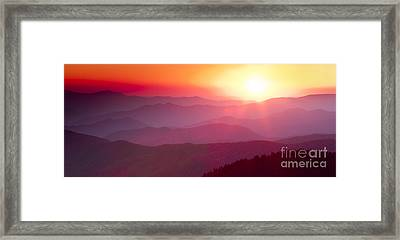 Great Smokie Mountains Sunset Framed Print by Dustin K Ryan